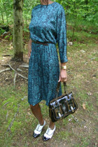 white patent leather shoes - teal silk print vintage dress - black b bag Fendi p