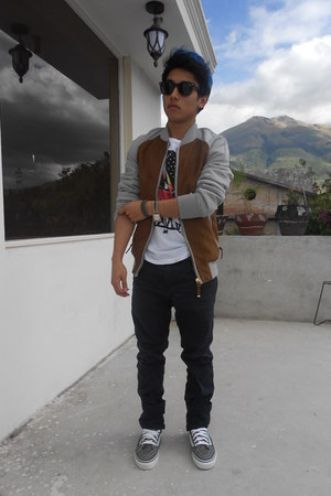 brown Zara jacket - silver Vans shoes - black Ray Ban sunglasses