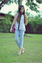 periwinkle top - periwinkle pants - eggshell wedges