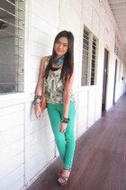 aquamarine skinny Lee Pipes jeans - bronze bag - lime green top