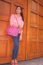 bubble gum animal print bag - charcoal gray crissa jeans - brown wedges
