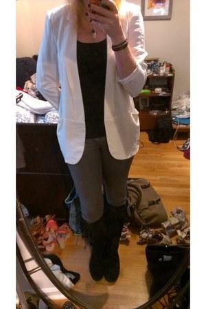 Lauren Conrad blazer - minnentonka boots - grey jeans H&M jeans