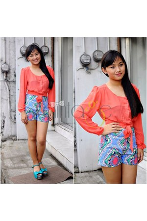 blue Vaintage shorts - salmon Vaintage top - turquoise blue Vaintage wedges