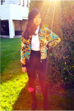 baroque jacket jacket - wedges cotton on shoes - shirt - Silence & Noise shorts