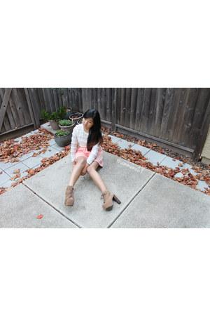 tan Jeffrey Campbell shoes - ivory H&M shirt - light pink Tobi skirt