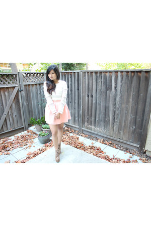 ivory H&M shirt - tan Jeffrey Campbell shoes - light pink Tobi skirt