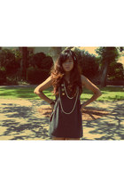 heather gray Poetry dress - white pearls f21 necklace