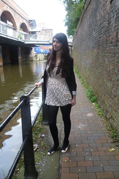 light pink Primark dress - black Newlook leggings - black H&M blazer