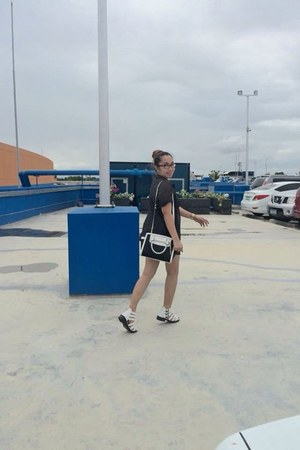 white cotton on shoes - black Michael Kors bag - navy Cheap Monday shorts