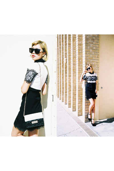 white lace asos dress - white kate spade bag - black crapeyewear sunglasses