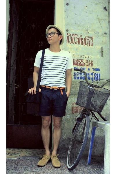 beige Esprit hat - white JPG shirt - orange Hermes belt - blue handmade pants -