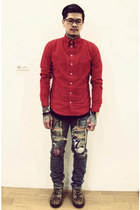 red American Apparel shirt - brown Japan boots - blue Tetei jeans