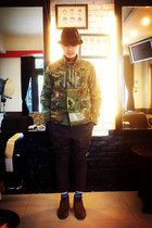 black H&M hat - olive green Wtaps jacket - dark brown hare pants