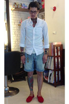 white Japan shirt - sky blue Playme shorts - red TOMS loafers - Rolex watch