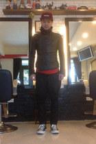 black Ekam jacket - maroon Supreme hat - black hare pants