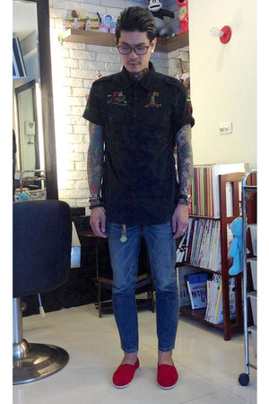 black Japan shirt - navy Lee jeans - red TOMS loafers - Rolex watch