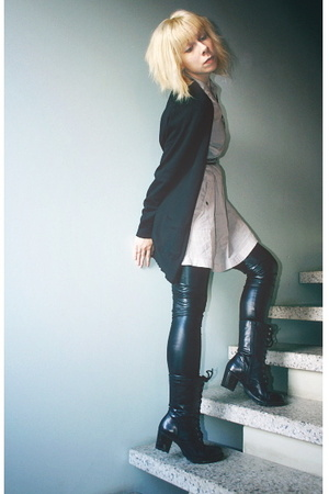 black Filippa K blazer - black boots vagabond shoes - gray Vero Moda dress