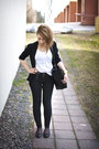 White-cotton-cos-t-shirt-black-tight-dr-denim-jeans-black-viscose-cos-blazer