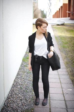 white cotton COS t-shirt - black tight Dr Denim jeans - black viscose COS blazer