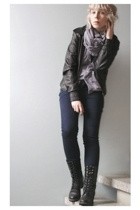 black vagabond boots - blue pieces jeans - black leather H&M jacket