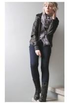black vagabond boots - blue pieces jeans - black leather H&M jacket