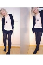 Filippa K blouse - GINA TRICOT t-shirt - American Apparel skirt - falke tights