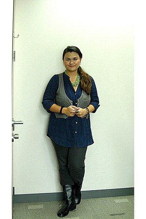 navy Old Navy top - black Muji boots - light blue Folded & Hung vest