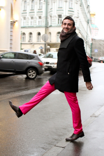 hot pink Versace for H&M pants - brick red Gucci boots - black Zara coat