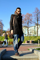 dark gray Zara coat - crimson Gucci boots - navy Dsquared2 jeans