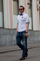 crimson Gucci shoes - navy Dsquared2 jeans - white Burberry shirt - black Ray Ba