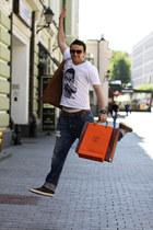 navy G-Star jeans - white Eleven Paris Asos shirt - bronze Jil Sander bag - oran