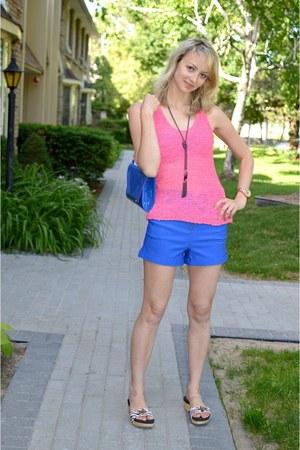 blue Bebe shorts - blue material girl bag - hot pink Bebe top
