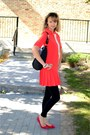 Red-vero-moda-dress-black-h-m-leggings-black-coach-bag
