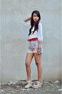Denim-thrifted-vintage-shorts-cream-sheer-thrifted-vintage-blouse-eggshell-e