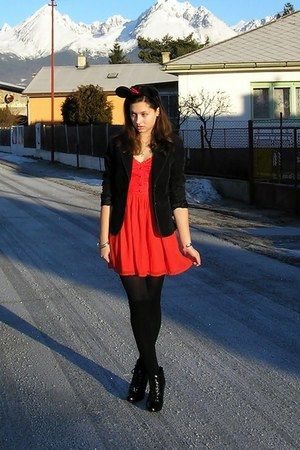 black H&M shoes - red H&M dress - black H&M blazer - black overknee Takko socks