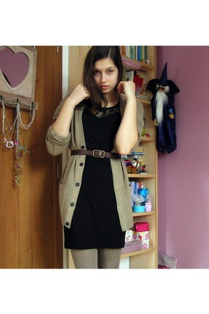 black F&F dress - camel daddys H&M sweater - camel Lidl tights - brown second-ha