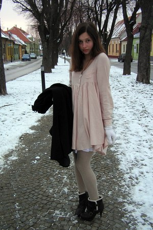 light pink H&M dress - black new look boots - camel F&F tights - black max&co co