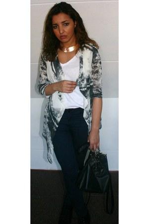 H&M cardigan - vintage necklace
