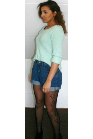 mint jumper - wedges
