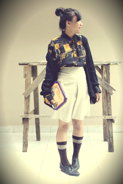 white vintage skirt - oxford Oxford shoes