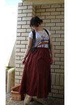 rocker t-shirt - black crochet vest - skirt - beige flower flats