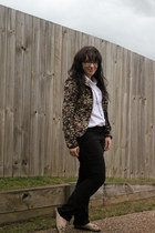 floral print blazer - black target jeans - white classic top - flats