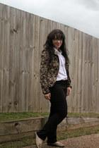 floral print blazer - black target jeans - white classic top - flats