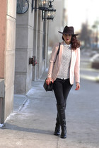 neutral tuxedo H&M blazer - black over the knee Nine West boots