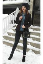 black Guess boots - black lola jeans - black Forever 21 blazer