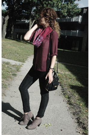 maroon handmade scarf - light brown Deichmann boots - black Lola jeans