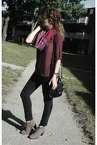 maroon handmade scarf - light brown Deichmann boots - black Lola jeans