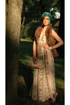 beige python print H&M dress - teal turban random brand scarf