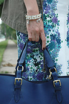 navy leather tote Varriale bag