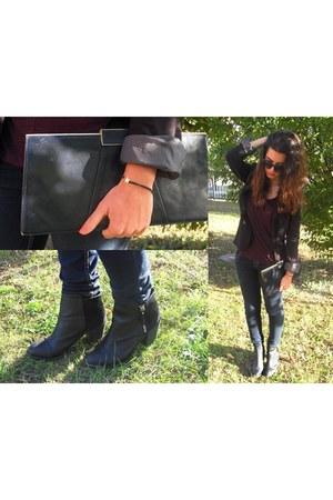 black H&M boots - navy pull&bear jeans - black Pimkie blazer